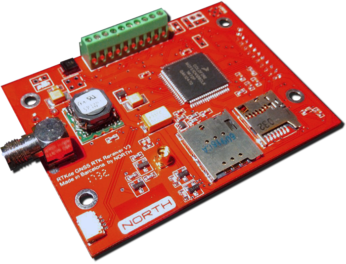 RTKite GNSS Receiver with UHF Tx/Rx Module and Surveying GNSS Antenna - SERIAL RS232 Logic